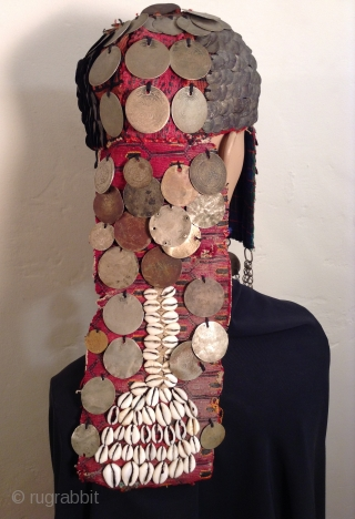This is a very dramatic headpiece that i believe comes from the Bedouin Nomadic people who lived in the Negev Desert area of Israel. Most of the Bedouin now live in towns.  ...