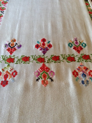 This is a  Palestinian wedding shawl.  It dates from about the early to mid 20th century.  The embroidery is a cross stitch and the colors are very vibrant as  ...