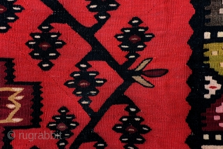 Balkan kilim, 'Sarkoy' Bulgaria, 280 x 148 Cm.  9.3 ft. x 5 ft. 19th century. No holes.   Sarkoy is a name invented by traders to depict Balkan Kilims made under Ottoman rule  ...