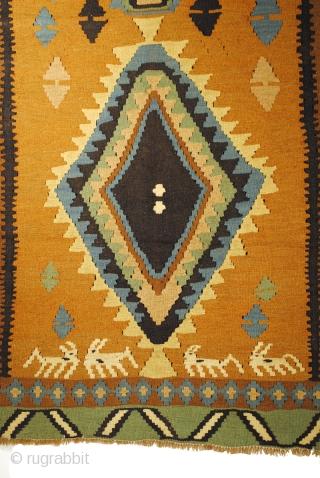 Arab Kilim, with antilopes.  240 x 150 Cm. 8 ft. x 5 ft.