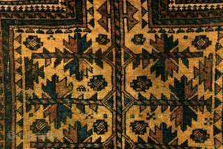 Camel ground.  Beloudj nomads, antique, 1900 -1910, 103 x 165 cm. 3.3 feet x 5.5 feet.  Sides and headings intact.
