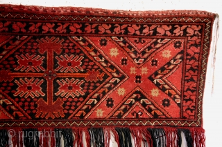 Torba or Jallar, Beshir.  Bag to hang in the Yurt.  140 x 40 Cm. with tassels 80 Cm. high.  Great natural colors, very thight knotted like a dart board.
