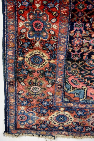 Kurd Bidjar, 1930's dozar size, 120 x 244 Cm.  In great condition - all natural colors.  Indigo field, pistache, rust red, brick red, licht blue, soft yellow, pink.  15 mm thick.  Knotted  ...