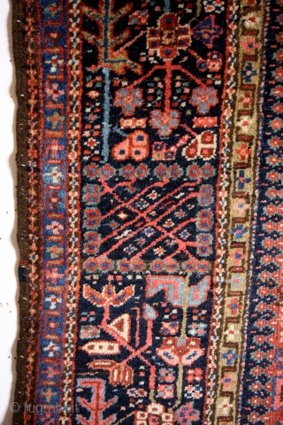 Heriz Karadja, antique 1900, left border an old repair. 