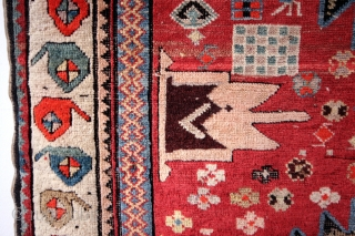 """Karabach, Caucasus, 1900 - 1910.  Nice corroded black, natural cochenille red.  Original sides.  280 x 120 Cms. and in medieval proportions: 9 ft.4""""x 4 ft.   SOLD ON CATAWIKI for € 750,00"""