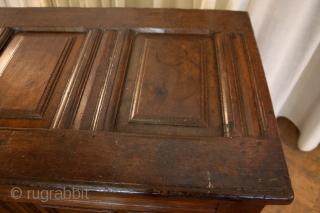 "Dutch chest, 17th century. Oak. long 107 Cm. 3.5 ft.  High 68 cm. 2 ft.3"" great patine.  minor restaurations. Ask for details."
