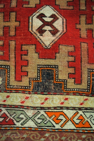 Antique Kazak, Leshki Star, Shirvan area.  Dated 1332=1914.  218 x 105 Cm. 7.2 ft. x 3.5 ft.