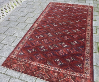 Yomud main rug, 305 x 171 cm., ca. 1900, in full pile and with fine weave. Sides and endings original and secured. Two areas with reknotting (see pict. 3 and 7). A  ...