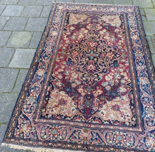 Isfahan, 206 x 131/141 cm., ca. 1900 in perfect, unrestored condition. Fine weave and a floppy handle. All natural dyes, endings secured. Will definitely better from a wash. Last picture taken in  ...