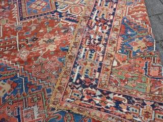 "Heriz rug with unusual border, 384  x 275 cm., 12'7"" x 9', ca. 1900."
