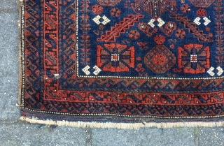 """Baluch mina khani Bagface 19th. c., 81  x 74 cm., 32"""" x 29"""". With reasonable pile, a few silk knots and four finger thick seize holes. At the bottom kilim ending  ..."""