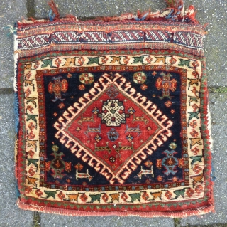 "Qashqai big Chanteh/small Bag, 41  x 41 cm., 16"" x 16"". Fine knotting, with soft wool. Good pile in general with some scattered spots with wear. All natural dyes. Washed."