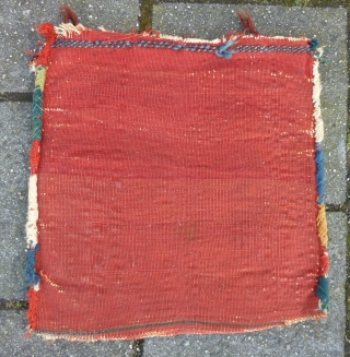 """Qashqai big Chanteh/small Bag, 41  x 41 cm., 16"""" x 16"""". Fine knotting, with soft wool. Good pile in general with some scattered spots with wear. All natural dyes. Washed."""