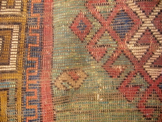 """Zakatala """"christian"""" prayer rug, 140 x 100 cm., 4'8"""" x 3'4"""",ca. 1850-1870. With bold graphics and good color harmony, it has a great tribal feel over it. The powerful designed yellow border reminds  ..."""