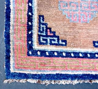 "Tibetan Khaden - TC18  51 1/2""  x  27""  Early ~ mid 20th c.   100% wool pile sleeping size carpet. Nice carpet in good solid condition.  POR"