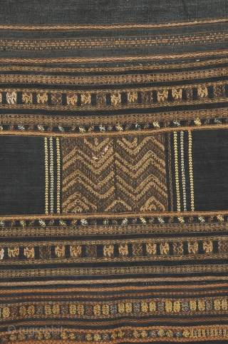 Ha Li People, Hainan Island , Sputh China.  Skirt with silk brocade and embroidery on indigo ground .  Collected in Thailand 1995.  This unopened tube skirt measures 26 x 64 inches  ...