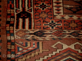 """#6845 Antique Yomud Ensi Rug  This 19th century Yomud Ensi Oriental Rug measures 4'8"""" x 5'2"""". This is an excellent Ensi. The crossbar in the field is very low adding to the  ..."""