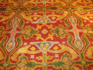 """Antique European Rug 13'5"""" X 16'6"""" #7942 This gigantic European rug measures 13'5"""" X 16'6"""". It is most probably a Donegal rug and possibly designed by Voysey. I don't know how to describe  ..."""
