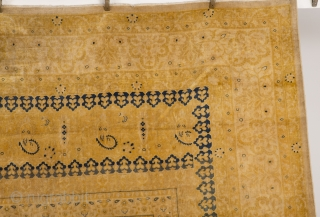 """#7537 Agra  This circa 1900 Agra measures 11'8"""" X 17'7"""" (359 X  539 cm).This king sized rug is done in several shades of yellow. The predominant yellow being the tone of unsalted  ..."""