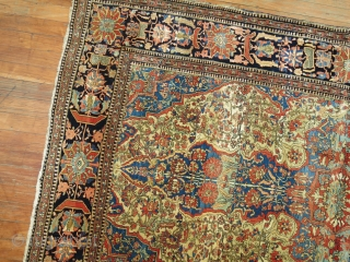 Antique Mohtasham Kashan 4'5''x7'.  Very good condition.  Don't really see any problems.  Full pile.  May benefit from a stretch.