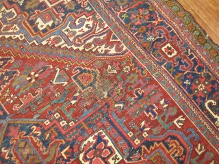 Antique Persian Heriz Size 8'2''x10'8''.  Just some minor scattered low areas.  Entire inventory online at www.rugsrusonline.com