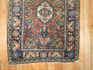 Antique Sarouk Farahan Size 1'9''x2'6''.  Bottom right corner partially missing.