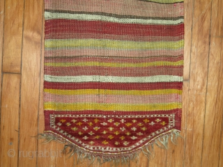 Turkish Bagface.  Unusual kilim ending which contains pile.  Excellent condition! Some synthetic colors but a rare weaving object with a pile flap!  1'5''x3'