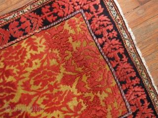 Antique Jozan with a saffron field.  2'1''x2'8''.  Excellent condition