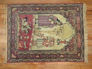Antique Persian Lavar Kerman. Nader shah. Small rug with a lot of details.  2'3''x3'.  Only some sides and ends minimally low.