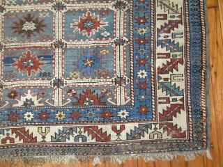 Antique kazak Perpedil Size 3'8''x4'7''.  Needs some minor re piling.