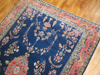 Antique Sarouk Mohajeran Size 4'3''x6'7''.  Gem in every way.