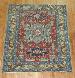 Antique Persian Heriz Untouched excellent condition.  3'9''x4'5''