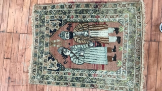Antique Lavar Or Tabriz.  Pictorial Shah rug.  Some moth bites.  Great subject.  Symbolic of friendship.  size is 2'x2'8''