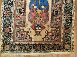 "Rare antique Persian Jozan Sarouk rug mat symbolizing king Shapur who was a Persian king dating back to medieval times. Size 2'2''x2'6''. The ""King"" you find in most deck of  ..."