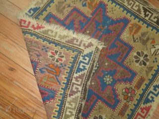 Antique Shirvan Lesghi bagface mat.  Both ends slightly missing.  Needs some TLC.  Size is 2'x2'3''
