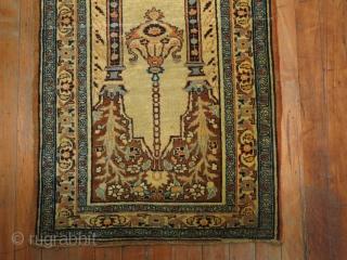 Antique Hadji Ja Lili Tabriz Baby Prayer Mat.  1'10''x2'9''.  Both ends missing a bit.  Super fine and collectible!