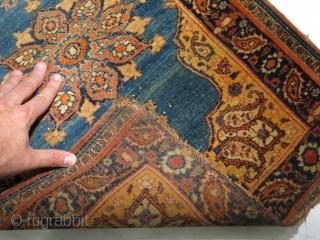 Antique super fine Tabriz.  1'9''x2'4''.  Rough condition yet still gorgeous.