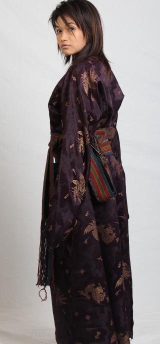 19thC.Chinese silk dragon phoenix design cut in Tibetan aristocratic ladies style