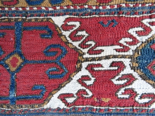 Antique Sumak panel wonderful colors and very old , white is cotton other all wool and wool Circa 1880