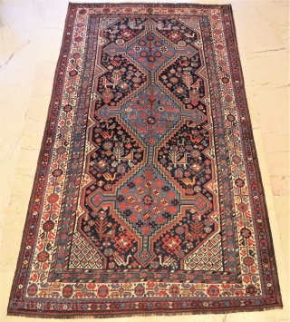 Antique Khamseh rug triple medallion wonderful colors and excellent condition all original Circa 1900- 1910