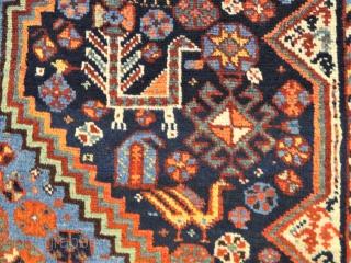 Antique Khamseh rug triple medallion wonderful colors and excellent condition all original Circa 1900- 1910