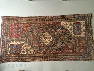 Fine and colorful antique Qasshgai rug 100x200 cm Worn