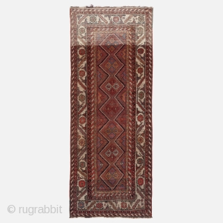 Kurdish rug, Late 19th century, Excellent condition, High pile, All natural colours, Size: 270 x 105 cm. (106 x 41 inch).