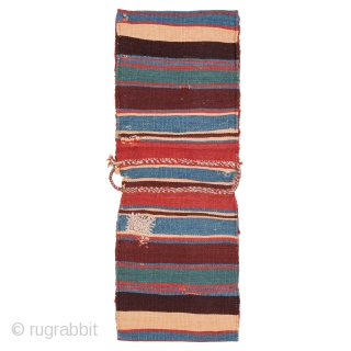 Qashqai Saddle-bag, Late 19th century, Great colors and pile, In original condition, Not restored, Size: 68 x 25 cm. ( 26.8 x 9.8 inch ), www.sadeghmemarian.com