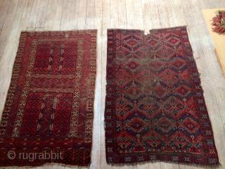 Early Ersari Beshir small main carpet. 130 cm x 206 cm. Very worn and beautiful.