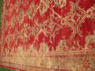 Exceptionally large carpet measuring 16 x 13.5 feet, needs lots of repair.
