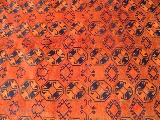 Old fine Gul rug, few repaired area's size: 6.2 x 10 ft.