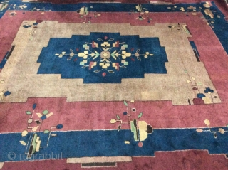 Art Deco rug needs minor repair measuring 365 x 274 cm.