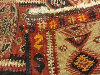 """Rare Antique Yastik Woven with Metal Thread 1'6"""" x 2'2"""""""