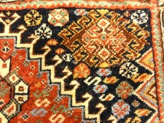 "Antique Persian Khamseh Circa 1880 1'10"" x 2'"